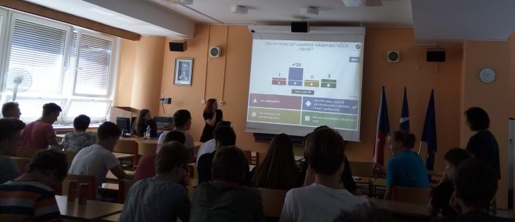 Přednáška pro studenty 1. a 3. ročníků na téma: Reklamace snadno a rychle
